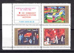 Makedonien   Michel #  11 - 14 **  4-er Block - Red Cross