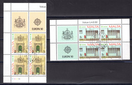 Malta  Michel # 831 - 32  4-er Blöcke Europa 1990 - Malta