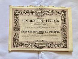 Sté  FONCIÈRE  De  TUNISIE  --------- Part  Bénéficiaire - Bank & Versicherung