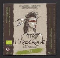 Etiquette De Bière  IPA  -  L'Irockoise  -   Brasserie De L'Emblavez à Vorey  (43) - Beer