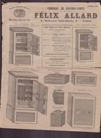 """Publicitaire """" Félix Allard """" Fabricant De Coffres-forts à Paris, 1890 - Publicités"""