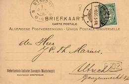 1 10 06 Gearceerde Lange Balk AMSTERDAM 1  Op Briefkaart Met Firmalogo Naar Utrecht - Marcofilia