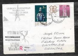 LITHUANIA 2000 REGISTERED COVER TO GIBRALTAR - Lituania
