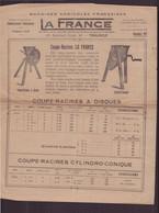 """Publicitaire """" La France """" Machines Agricoles Françaises, 1927 - Publicités"""