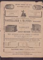 """Publicitaire """" Voitelier """" Fabrique De Couveuses à Mantes , 1880 - Publicités"""