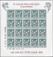 FRANCE 2016 - BF YT F5094 MNH ** (neuf) - 70e SALON PHILATÉLIQUE D'AUTOMNE 140 ANS DU TYPE SAGE 1876 - Souvenir Blokken
