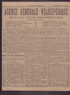 """Publicitaire """" Agence Générale Vélocipédique """" à Saint-Etienne, 1892 - Publicités"""
