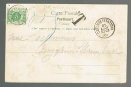Oblitération * Humbeek * 26 AOUT 1904 à L'arrivée / TX 3 De CP Vue Ostende Non Affranchie (petit Trou Haut Droite) - Bolli A Stelle