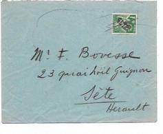 SH 0893. FRANCE N° 432 Annulation Plume + GRIFFE SETE S/L. V. Fr. BOVESSE à SETE (Hérault). Au Dos SETE 30.V.40. TB - Covers