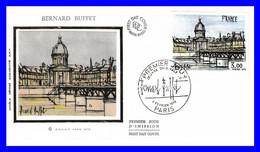 1994 (Yvert) Sur Enveloppe Premier Jour Illustrée Sur Soie - Oeuvres D'art Bernard Buffet - France 1978 - 1970-1979