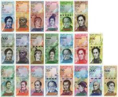 VENEZUELA FULL SET (21 Pcs) BOLIVARES 2007-2018 - UNC - Venezuela