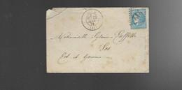 LETTRE AUCH Gros Chiffre 212 Sur Ceres Type ? Pour LOS  LOT ET GARONNE Verso Cachet Perlé - 1870 Bordeaux Printing