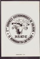 """Publicitaire """" Journées Gastronomiques De Sologne """" Du 24 Octobre 1987 à Romorantin-Lanthenay - Publicités"""