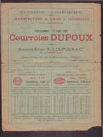"""Publicitaire """" Dupoux """" Manufacture De Cuirs Et Courroies Pour Transmission à Paris 1929 - Publicités"""