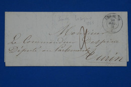 S5 SARDE   BELLE LETTRE   1855 PETIT BUREAU LESEGNO  SARDE POUR TORINO + TAXE+ AFFRANCH INTERESSANT - Sardinië