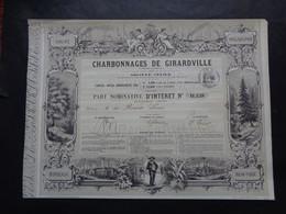 USA - CHARBONNAGE DE GIRARVILLE - PART NOMINATIVE D'INTERET - 1858 - TRES BEAU TITRE, PEU COURANT - Unclassified