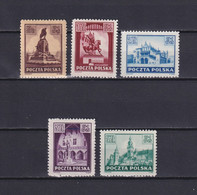 POLAND 1945, Mi# 393-397, Architecture, MNH/MH - Unused Stamps