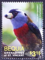 Gr. Of St. Vincent, Bequia 2016 MNH, Toucan Barbet, Birds - - Cuckoos & Turacos