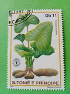SAO TOME E PRINCIPE - Timbre 1981 : Série Fruits - Oreilles D'Eléphant (Colocasia Esculenta) - São Tomé Und Príncipe