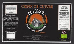 Etiquette De Bière Ambrée    -  Croix De Cuivre  -  Brasserie De L'Enclos  à Avranches  (50) - Beer