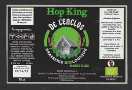 Etiquette De Bière Blonde A Cru    -  Hop King  -  Brasserie De L'Enclos  à Avranches  (50) - Beer