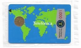 Spain - Telefónica - Mapamundi - B-013 - Cn. 157340 Top Left Reverse, 03.1989, Chip Bull B1, 1000PTA, NSB - Gratis Uitgaven