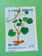 SAO TOME E PRINCIPE - Timbre 1996 : Série Plantes - Feuille De Pied De Vache (Piper Umbellatum Linn) - São Tomé Und Príncipe