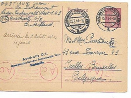 SH 0896. EP ALLEMAGNE  Mi P 299 AUSCHWITZ(OBERSCLEG.) Du Camp De BUCHENWALD - Censures Auschwitz Et Ax Vers BRUXELLES - Covers