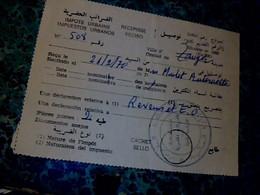 Vieux Papier Avec Cachet Royaume Du Maroc 1970 Impots Urbains Pour Une Ressortissante Française De Tanger - Seals Of Generality