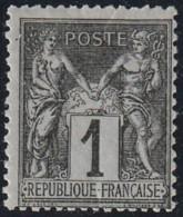 Année 1877 - N° 83 - Type Sage - 1 C. Noir Sur Azuré Type II - Neuf - Voir Scan. - 1876-1878 Sage (Tipo I)