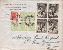 24225# BELGIQUE CROIX ROUGE N°498 BLOC DE 4 LETTRE Obl BRUXELLES BRUSSEL 1939 NANCY MEURTHE ET MOSELLE - Covers & Documents