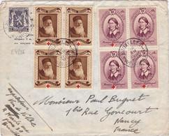 24226# BELGIQUE CROIX ROUGE N°496 + 497 BLOC DE 4 LETTRE Obl BRUXELLES BRUSSEL 1939 NANCY MEURTHE ET MOSELLE - Covers & Documents