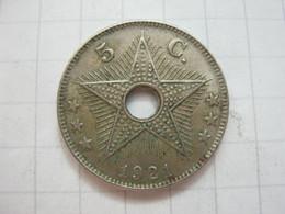 Congo Belgian 5 Centimes 1921 - 1910-1934: Albert I