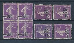 FRANCE - N°218X8 NEUFS* * SANS CHARNIERE AVEC SURCHARGES DEPLACEES - 1926/27 - Curiosa: 1921-30 Postfris