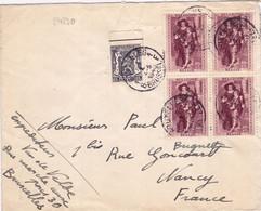 24230# BELGIQUE RUBENS N°505 BLOC DE 4 LETTRE Obl BRUXELLES BRUSSEL 1940 NANCY MEURTHE ET MOSELLE - Covers & Documents