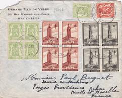 24236# BELGIQUE ANTITUBERCULEUX LES BEFFROIS N°519 + 520 BLOC DE 4 LETTRE Obl JABBEKE 1940 NANCY MEURTHE ET MOSELLE - Covers & Documents