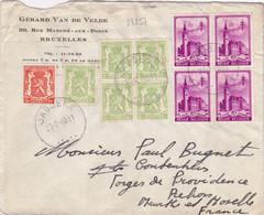 24237# BELGIQUE ANTITUBERCULEUX LES BEFFROIS N°521 BLOC DE 4 LETTRE Obl JABBEKE 1940 NANCY MEURTHE ET MOSELLE - Covers & Documents