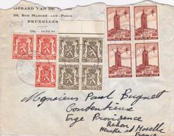 24238# BELGIQUE ANTITUBERCULEUX LES BEFFROIS N°520 BLOC DE 4 LETTRE Obl JABBEKE 1940 NANCY MEURTHE ET MOSELLE - Covers & Documents