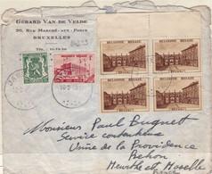 24239# BELGIQUE RUBENS N°504 BLOC DE 4 EAU LIEGE N°485 LETTRE Obl JABBEKE 1940 NANCY MEURTHE ET MOSELLE - Covers & Documents