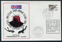 1981 Iceland British Sub-Aqua Club Expedition Cover Reykjavik Grimsey, Signed Magnus Magnusson Mastermind - Lettres & Documents