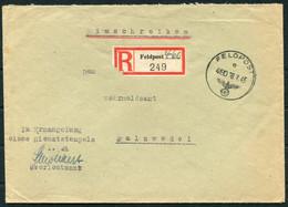 1943 Germany Registered Fieldpost France Cover / Feldpost Einschreiben Feldpostamt 307 St. Brieuc Frankreich - Storia Postale