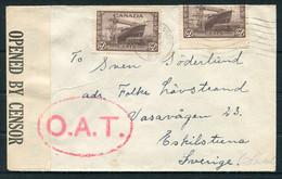 WW2 Canada O.A.T. Censor Cover - Eskilstuna Sweden - Cartas