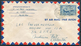 1943 Canada RAF Moncton Airmail Cover - Van Der Meersch,Belgian Hut 33A, 34 S.F.T.S. Flying School,Medicine Hat, Alberta - Cartas