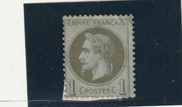 ///    FRANCE  ///     Napoléon III - Lauré N° 25 Côte 25€ Bronze Ou Olive Collé Sur Support Côte Sans Gomme 20€ - 1863-1870 Napoleon III With Laurels