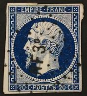YT 14Ab RARE Ambulants Losange NF3° Nancy à Forbach (°) Obl 1853-60 Type I 20c Bleu Noir (> 40 Euros) France – Ciel - 1853-1860 Napoleon III