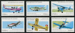Guinée Guinea 1995 Pilatus, Valmet Redigo, Piper Cub, Gardan Horizon, Beagle Pup ( YT 1053,  Mi 1539 , SG 1641) - Airplanes