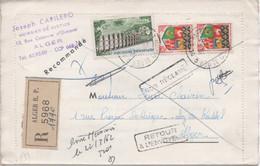 Lettre Recommandée D'Algérie, Affranchissement Timbre Français (n°1240: Viaduc De Chaumont Et Paire Du 1230A) - Andere