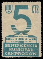 CAMPRODON. 5 Cts. Beneficencia Municipal. Rara. - Republikanische Ausgaben