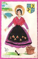 Carte Postale à La Robe Brodée Pour Une Belle Dauphinoise En Costume Et Blason Production Fanta-cap 26 - Borduurwerk