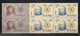 POLAND 1981 200 YEARS Of THE OLD THEATER In KRAKOW BLOCK Of 4 Set MNH - Ongebruikt